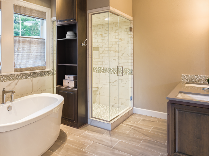 Modern bathroom with soaking tub and tile shower