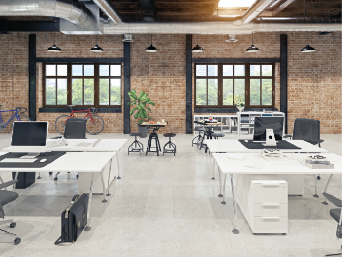 Modern office space with brick wall and industrial decor