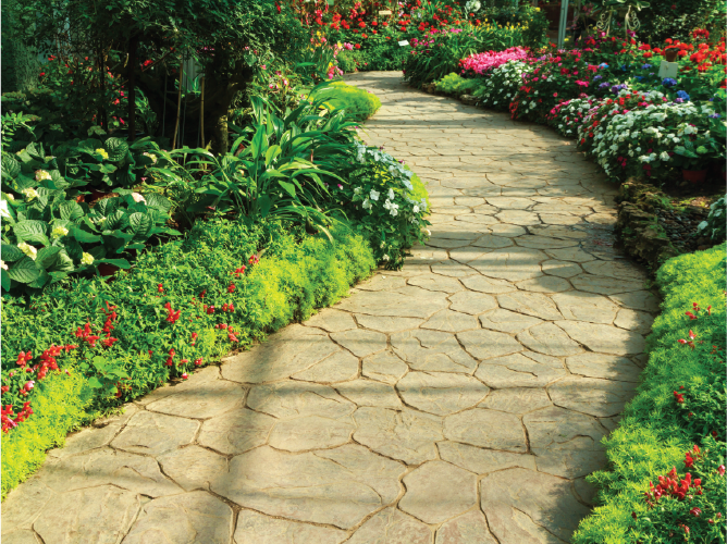 Lushly landscaped stone pathway