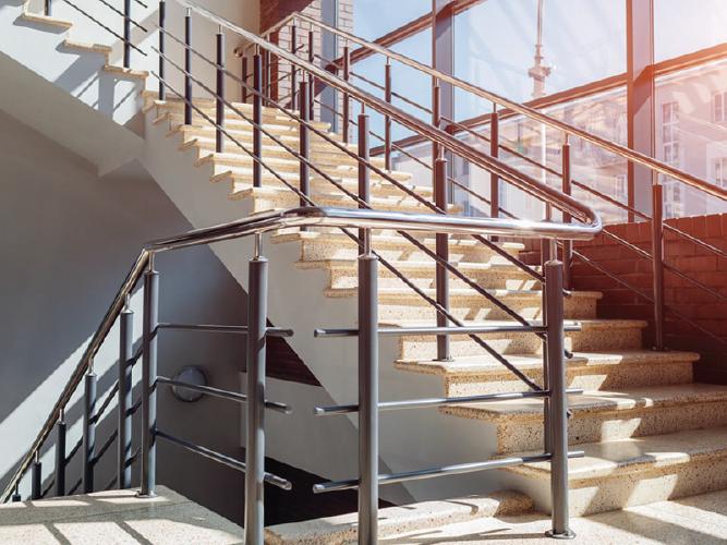 Sunny terrazo stairs and chrome railings