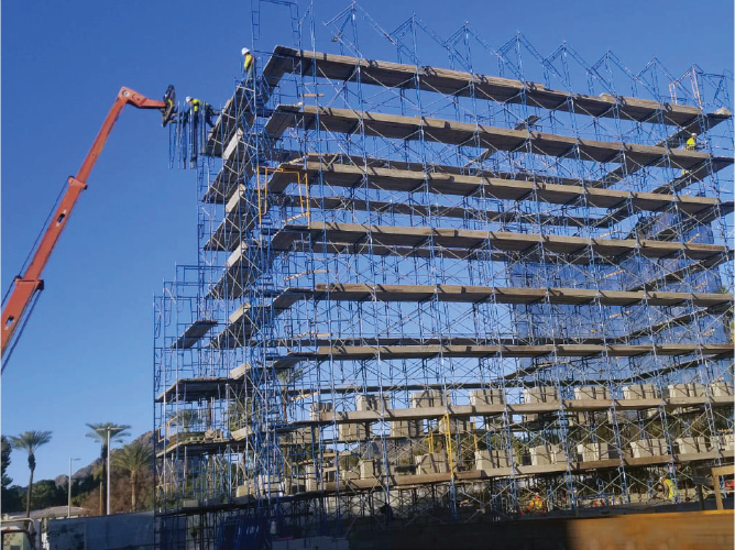 Scaffolding on commercial building