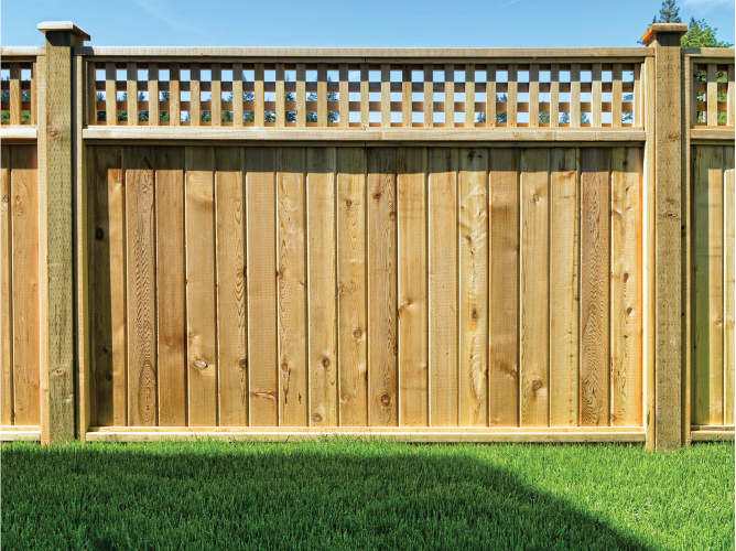New wood fence with lattice work