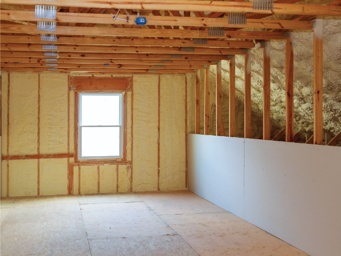 Blown on insulation in unfinished room